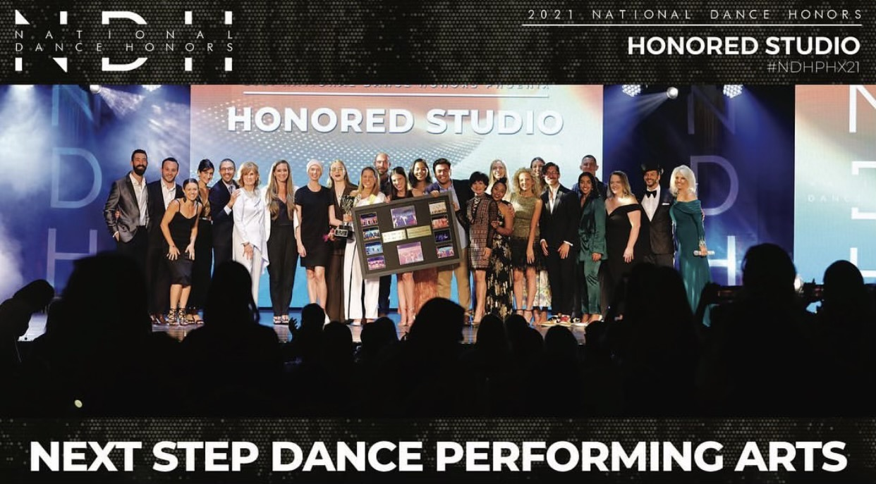 Next Step Dance crew on stage accepting 2021 National Dance Honors award